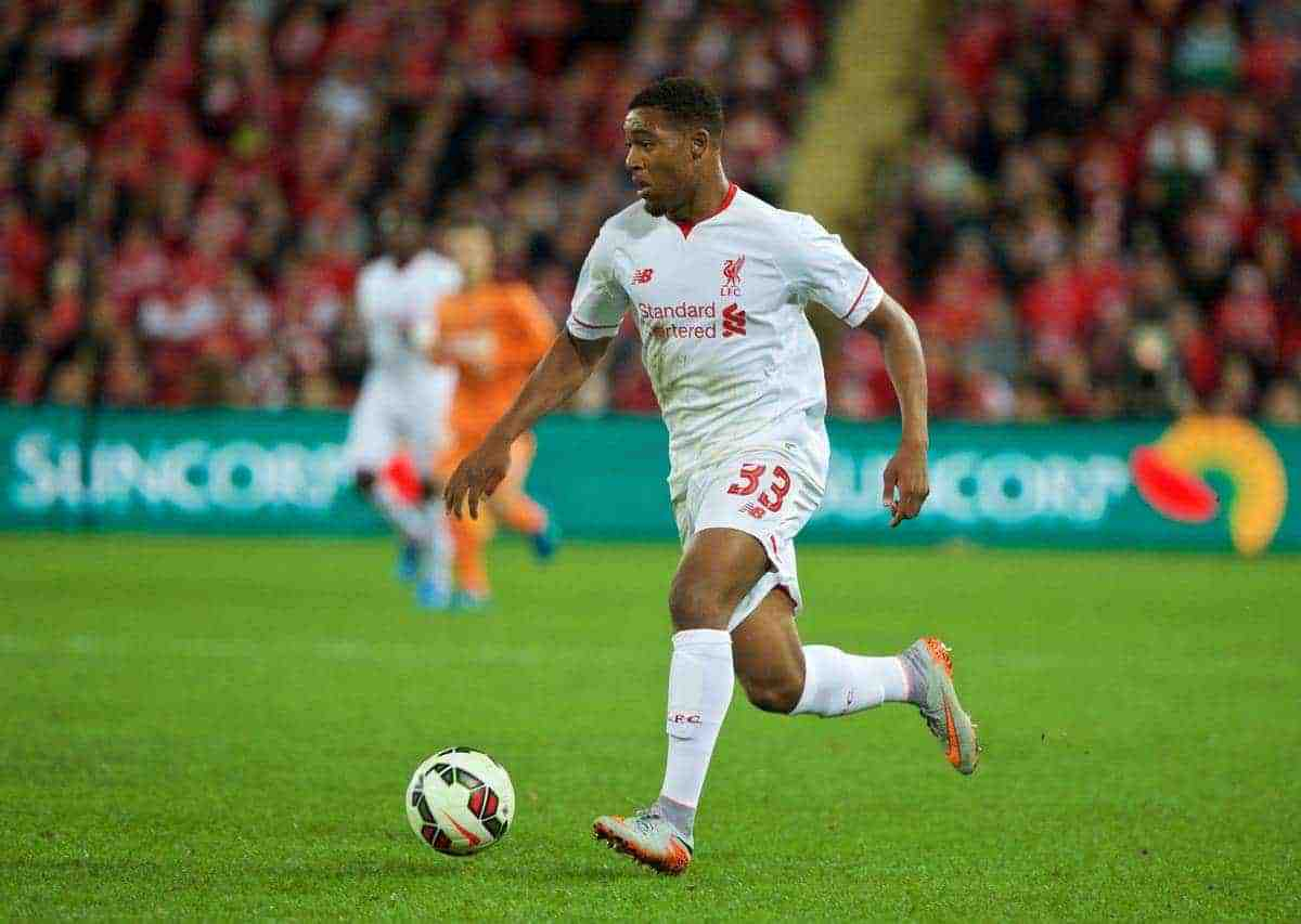 BRISBANE, AUSTRALIA - Friday, July 17, 2015: Liverpool's Jordon Ibe in action against Brisbane Roar during a preseason friendly match at the Suncorp Stadium on day five of the club's preseason tour. (Pic by David Rawcliffe/Propaganda)