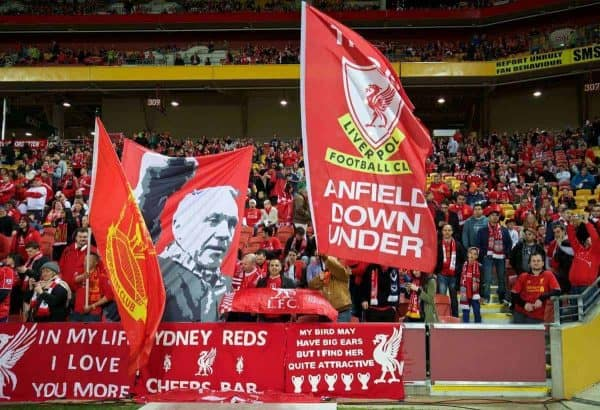 BRISBANE, AUSTRALIA - Friday, July 17, 2015: Liverpool supporters before a preseason friendly match against Brisbane Roar at the Suncorp Stadium on day five of the club's preseason tour. (Pic by David Rawcliffe/Propaganda)