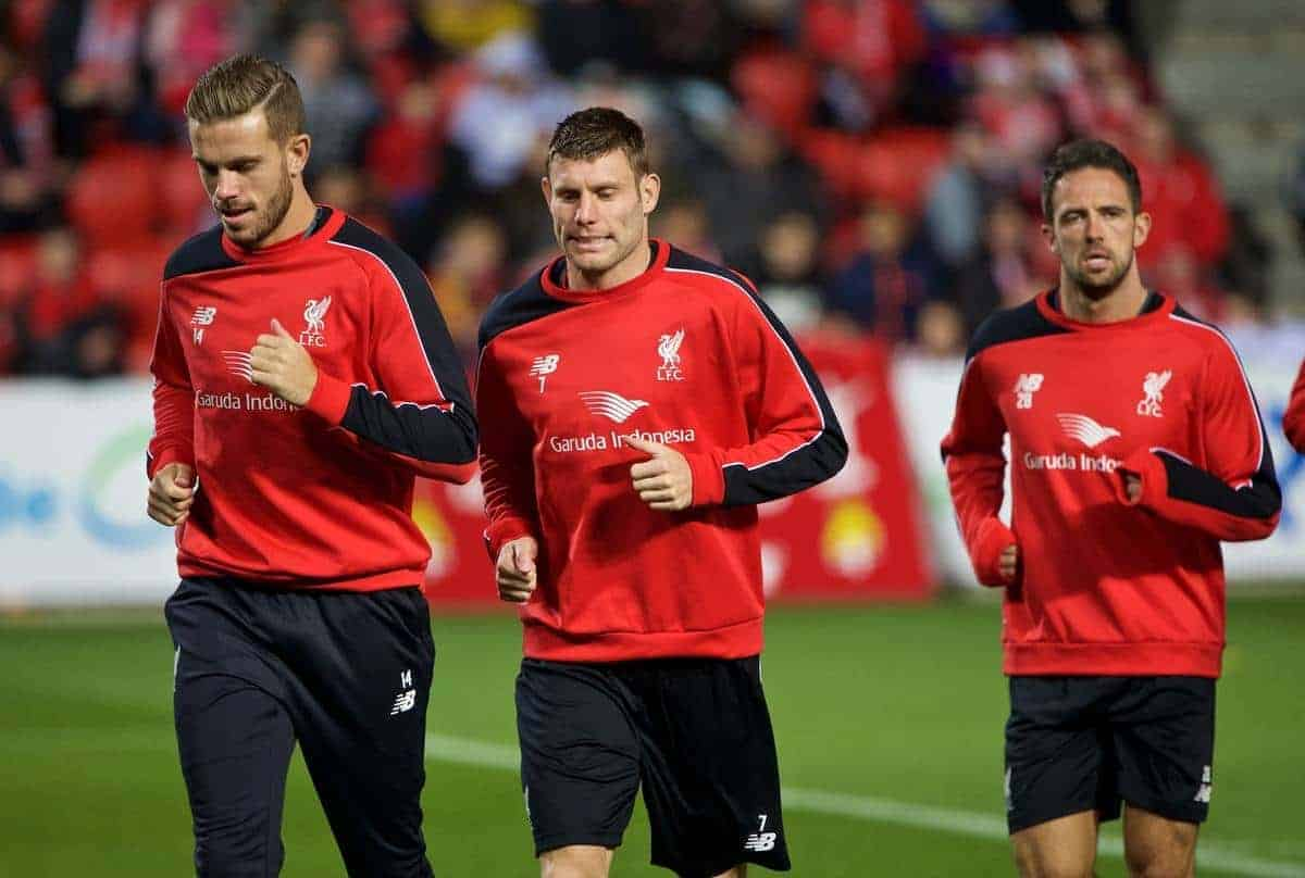 ADELAIDE, AUSTRALIA - Sunday, July 19, 2015: Liverpool's captain Jordan Henderson, James Milner and Danny Ings during a training session at Coopers Stadium ahead of a preseason friendly match against Adelaide United on day seven of the club's preseason tour. (Pic by David Rawcliffe/Propaganda)