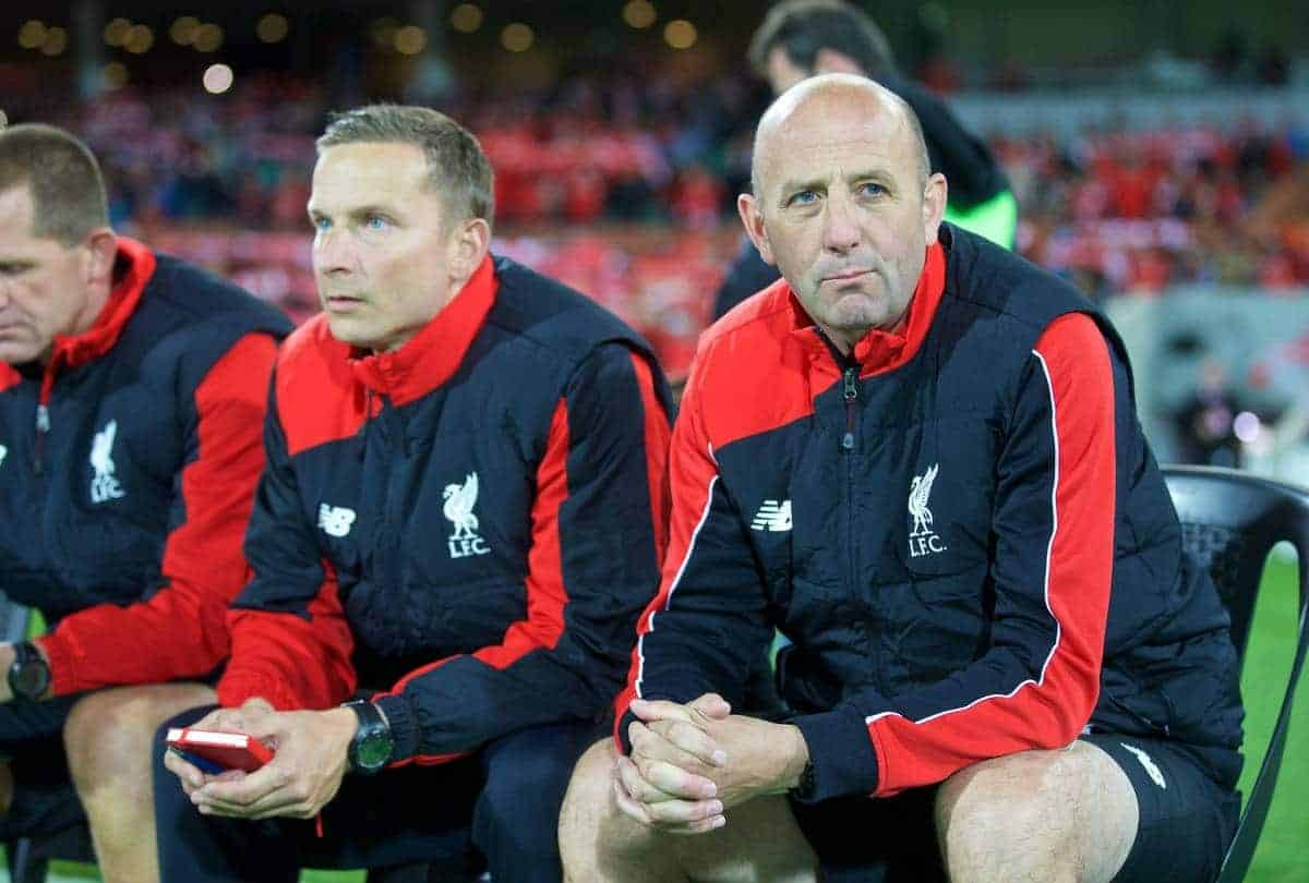 ADELAIDE, AUSTRALIA - Monday, July 20, 2015: Liverpool's first team coach Gary McAllister and first-team development coach Pepijn Lijnders during a preseason friendly match against Adelaide United at the Adelaide Oval on day eight of the club's preseason tour. (Pic by David Rawcliffe/Propaganda)