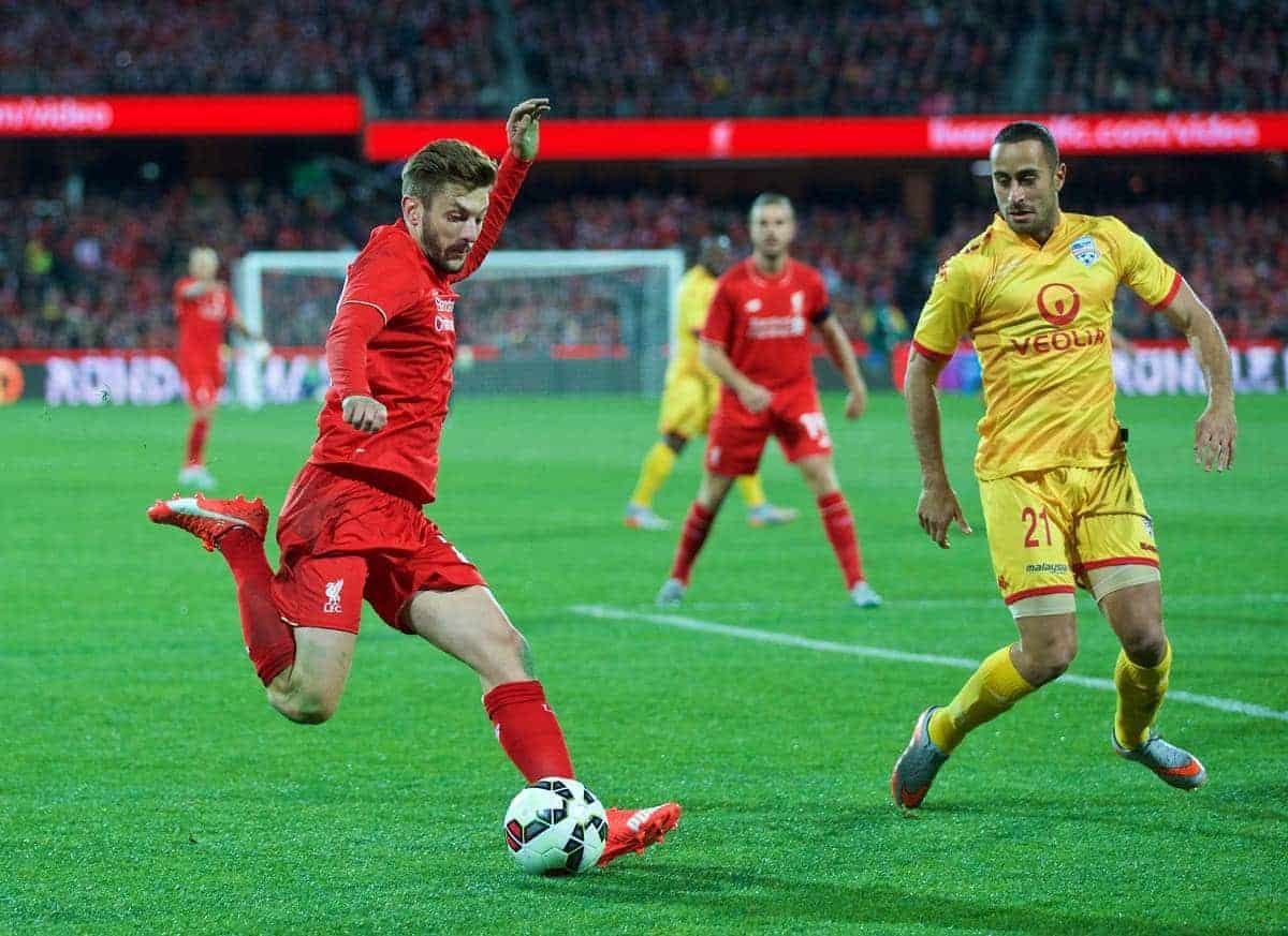 ADELAIDE, AUSTRALIA - Monday, July 20, 2015: Liverpool's Adam Lallana in action against Adelaide United during a preseason friendly match at the Adelaide Oval on day eight of the club's preseason tour. (Pic by David Rawcliffe/Propaganda)