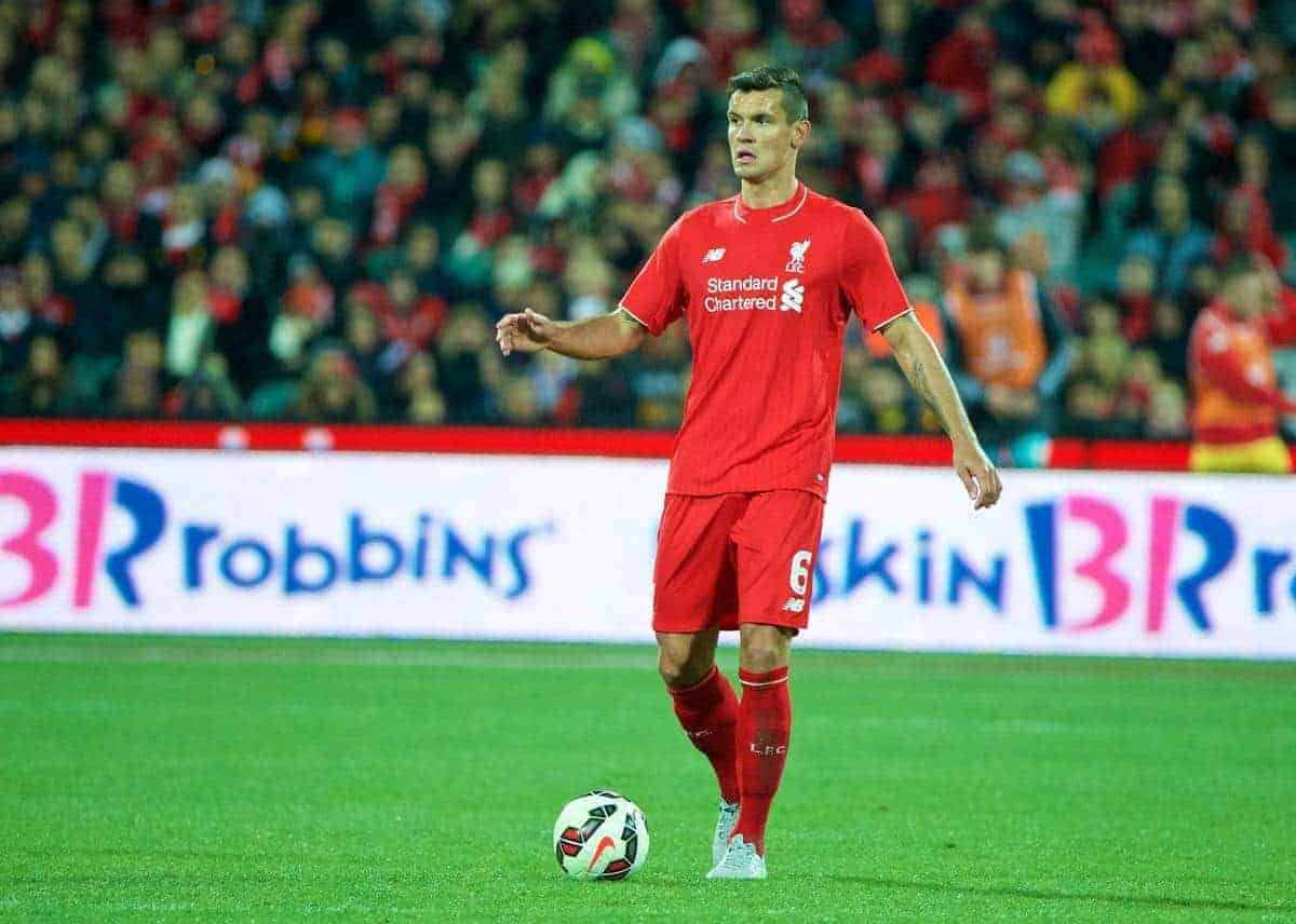 ADELAIDE, AUSTRALIA - Monday, July 20, 2015: Liverpool's Dejan Lovren in action against Adelaide United during a preseason friendly match at the Adelaide Oval on day eight of the club's preseason tour. (Pic by David Rawcliffe/Propaganda)