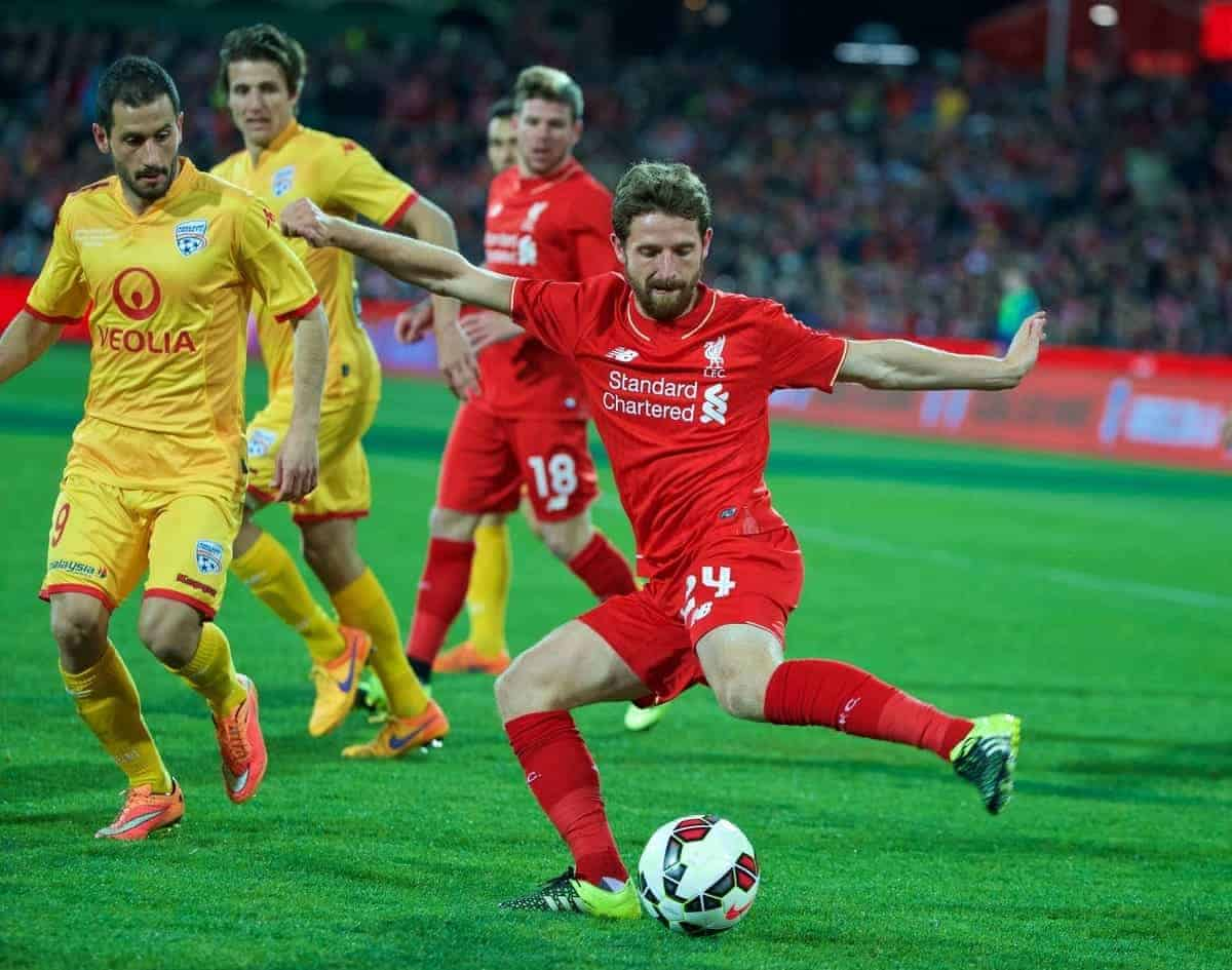 ADELAIDE, AUSTRALIA - Monday, July 20, 2015: Liverpool's Joe Allen in action against Adelaide United during a preseason friendly match at the Adelaide Oval on day eight of the club's preseason tour. (Pic by David Rawcliffe/Propaganda)