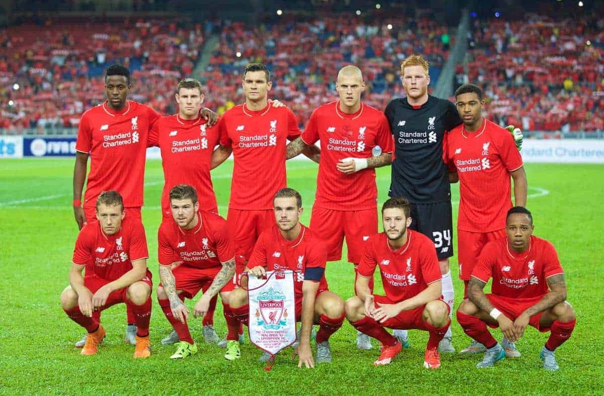 KUALA LUMPUR, MALAYSIA - Friday, July 24, 2015: Liverpool's players line up for a team group photograph before a friendly match at the Bukit Jalil National Stadium on day twelve of the club's preseason tour. Back row L-R: Divock Origi, James Milner, Dejan Lovren, Martin Skrtel, goalkeeper Adam Bogdan, Jordon Ibe. Front row L-R: Lucas Leiva, Alberto Moreno, captain Jordan Henderson, Adam Lallana and Nathaniel Clyne. (Pic by David Rawcliffe/Propaganda)