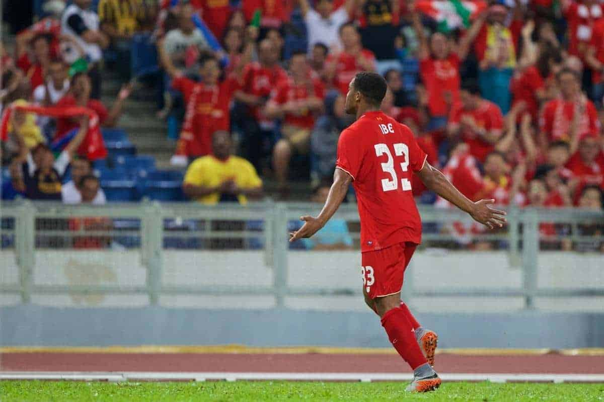KUALA LUMPUR, MALAYSIA - Friday, July 24, 2015: Liverpool's Jordon Ibe celebrates scoring the first goal against a Malaysia XI during a friendly match at the Bukit Jalil National Stadium on day twelve of the club's preseason tour. (Pic by David Rawcliffe/Propaganda)