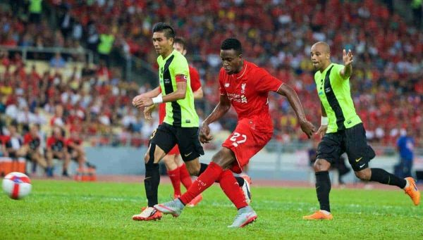 KUALA LUMPUR, MALAYSIA - Friday, July 24, 2015: Liverpool's Divock Origi in action against a Malaysia XI during a friendly match at the Bukit Jalil National Stadium on day twelve of the club's preseason tour. (Pic by David Rawcliffe/Propaganda)