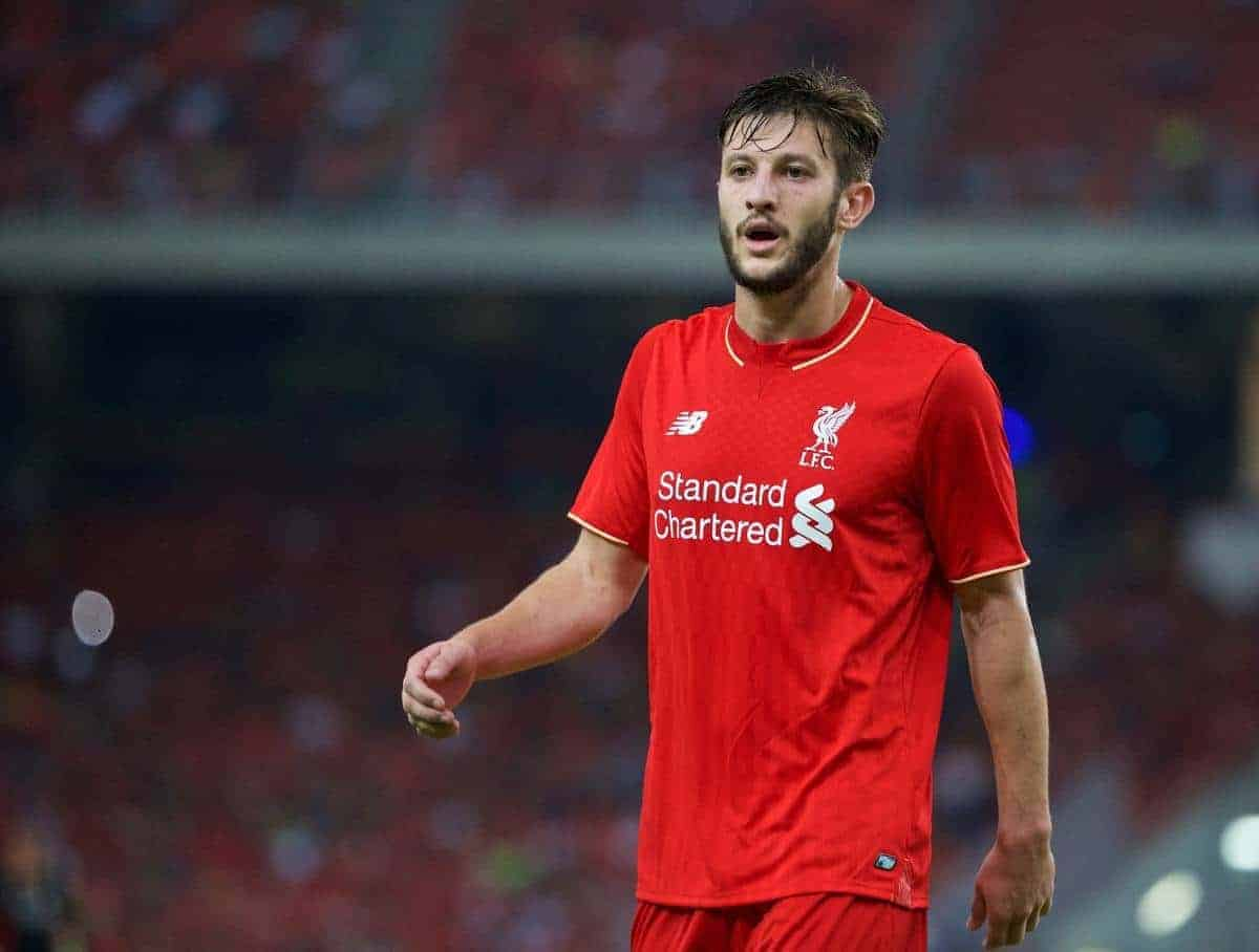 KUALA LUMPUR, MALAYSIA - Friday, July 24, 2015: Liverpool's Adam Lallana in action against a Malaysia XI during a friendly match at the Bukit Jalil National Stadium on day twelve of the club's preseason tour. (Pic by David Rawcliffe/Propaganda)