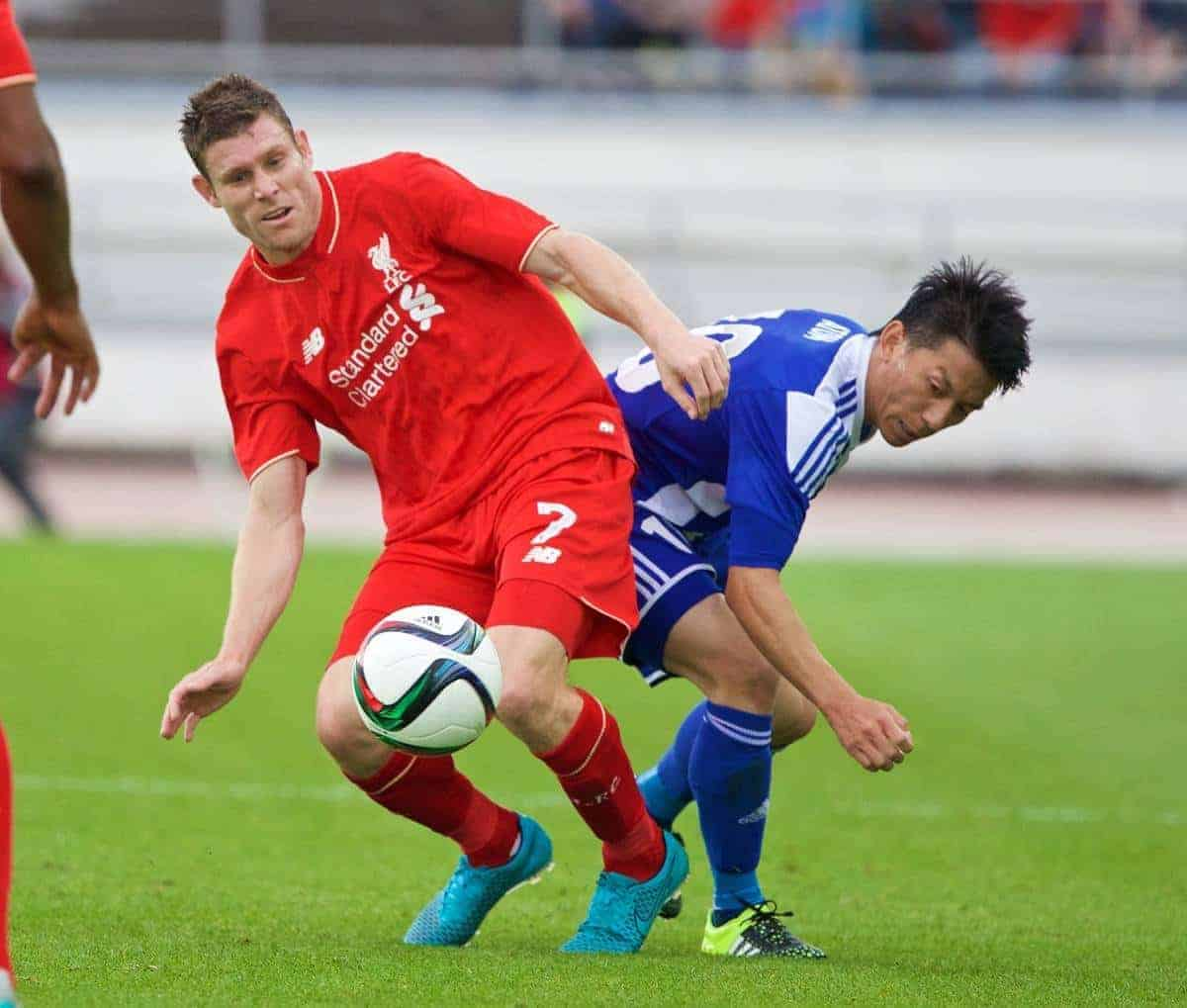 HELSINKI, FINLAND - Friday, July 31, 2015: Liverpool's James Milner in action against HJK Helsinki during a friendly match at the Olympic Stadium. (Pic by David Rawcliffe/Propaganda)