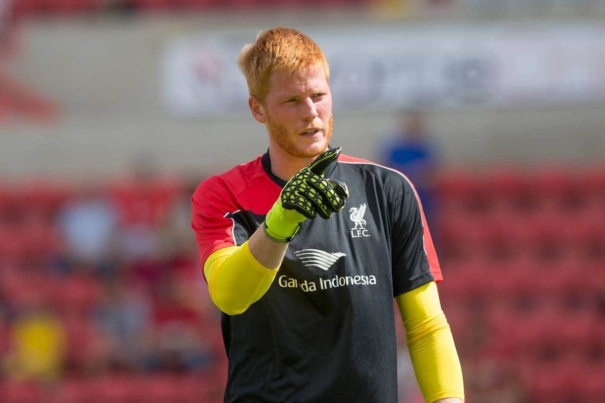 SWINDON, ENGLAND - Sunday, August 2, 2015: Liverpool's goalkeeper Adam Bogdan warms up ahead of a friendly match against Swindon Town at the County Ground. (Pic by Mark Hawkins/Propaganda)