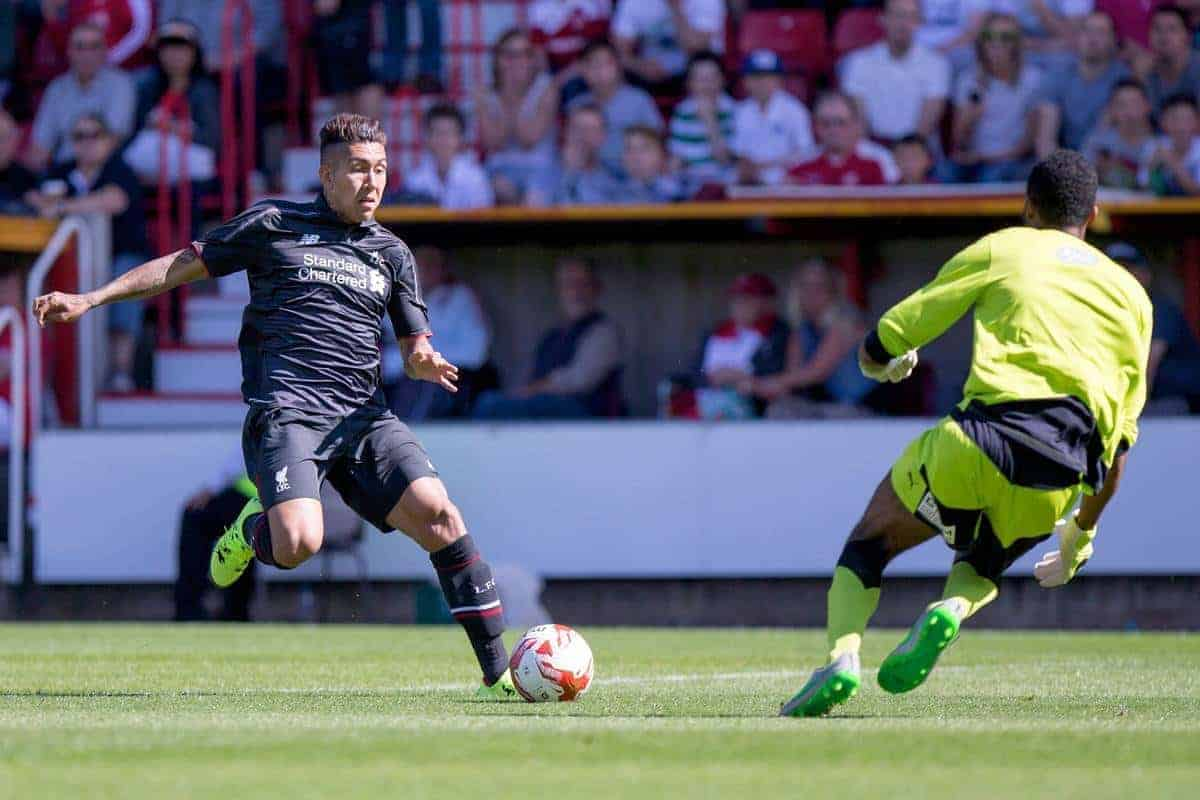 SWINDON, ENGLAND - Sunday, August 2, 2015: Liverpool's Roberto Firmino in action against Swindon Town during a friendly match at the County Ground. (Pic by Mark Hawkins/Propaganda)