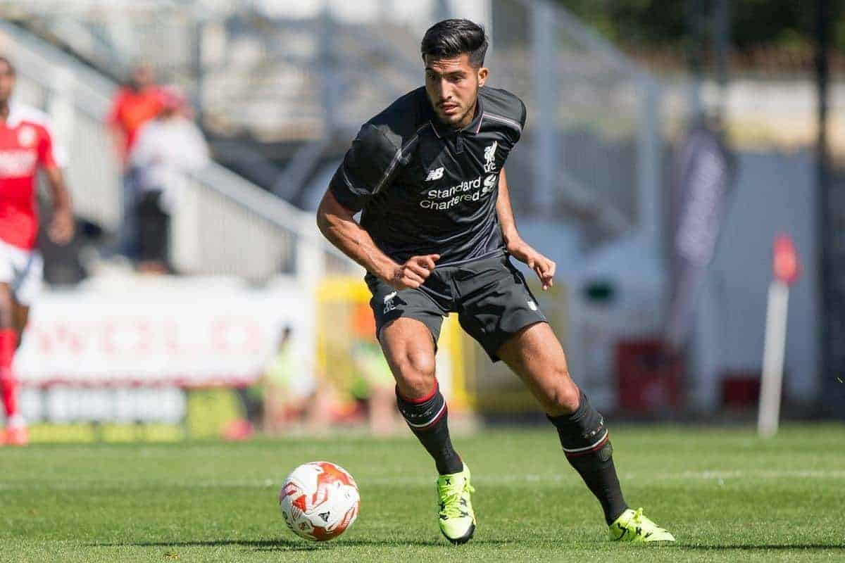 SWINDON, ENGLAND - Sunday, August 2, 2015: Liverpool's Emre Can in action against Swindon Town during a friendly match at the County Ground. (Pic by Mark Hawkins/Propaganda)