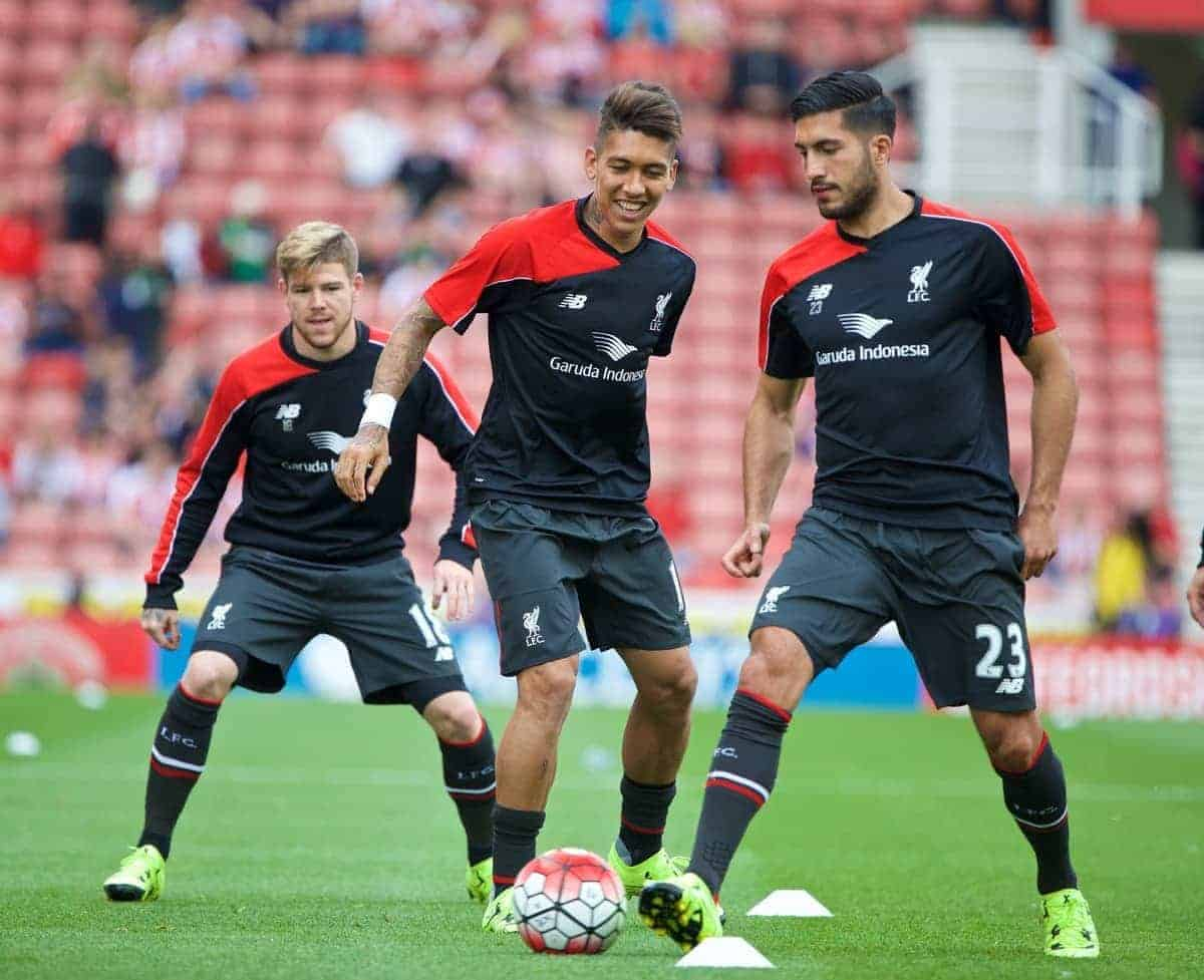 STOKE-ON-TRENT, ENGLAND - Sunday, August 9, 2015: Liverpool's Alberto Moreno, Roberto Firmino and Emre Can warm-up before the Premier League match against Stoke City at the Britannia Stadium. (Pic by David Rawcliffe/Propaganda)