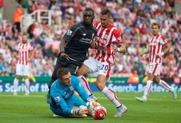 STOKE-ON-TRENT, ENGLAND - Sunday, August 9, 2015: Liverpool's Christian Benteke is denied by Stoke City's goalkeeper Jack Butland during the Premier League match at the Britannia Stadium. (Pic by David Rawcliffe/Propaganda)