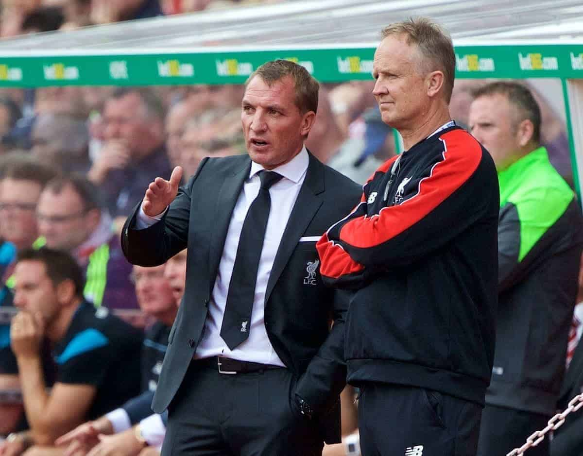 STOKE-ON-TRENT, ENGLAND - Sunday, August 9, 2015: Liverpool's manager Brendan Rodgers and assistant manager Sean O'Driscoll during the Premier League match against Stoke City at the Britannia Stadium. (Pic by David Rawcliffe/Propaganda)