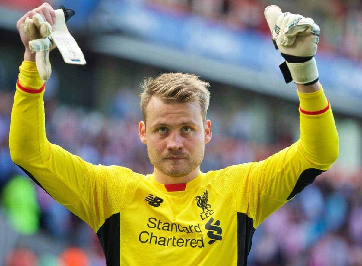 STOKE-ON-TRENT, ENGLAND - Sunday, August 9, 2015: Liverpool's goalkeeper Simon Mignolet applauds the supporters after the 1-0 victory over Stoke City during the Premier League match at the Britannia Stadium. (Pic by David Rawcliffe/Propaganda)