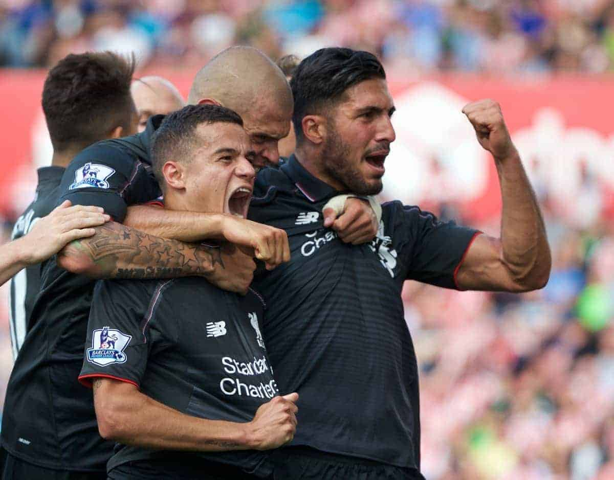 STOKE-ON-TRENT, ENGLAND - Sunday, August 9, 2015: Liverpool's Philippe Coutinho Correia celebrates scoring the winning goal against Stoke City during the Premier League match at the Britannia Stadium. (Pic by David Rawcliffe/Propaganda)