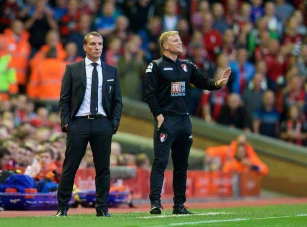 LIVERPOOL, ENGLAND - Monday, August 17, 2015: Liverpool's manager Brendan Rodgers and AFC Bournemouth's manager Eddie Howe during the Premier League match at Anfield. (Pic by David Rawcliffe/Propaganda)