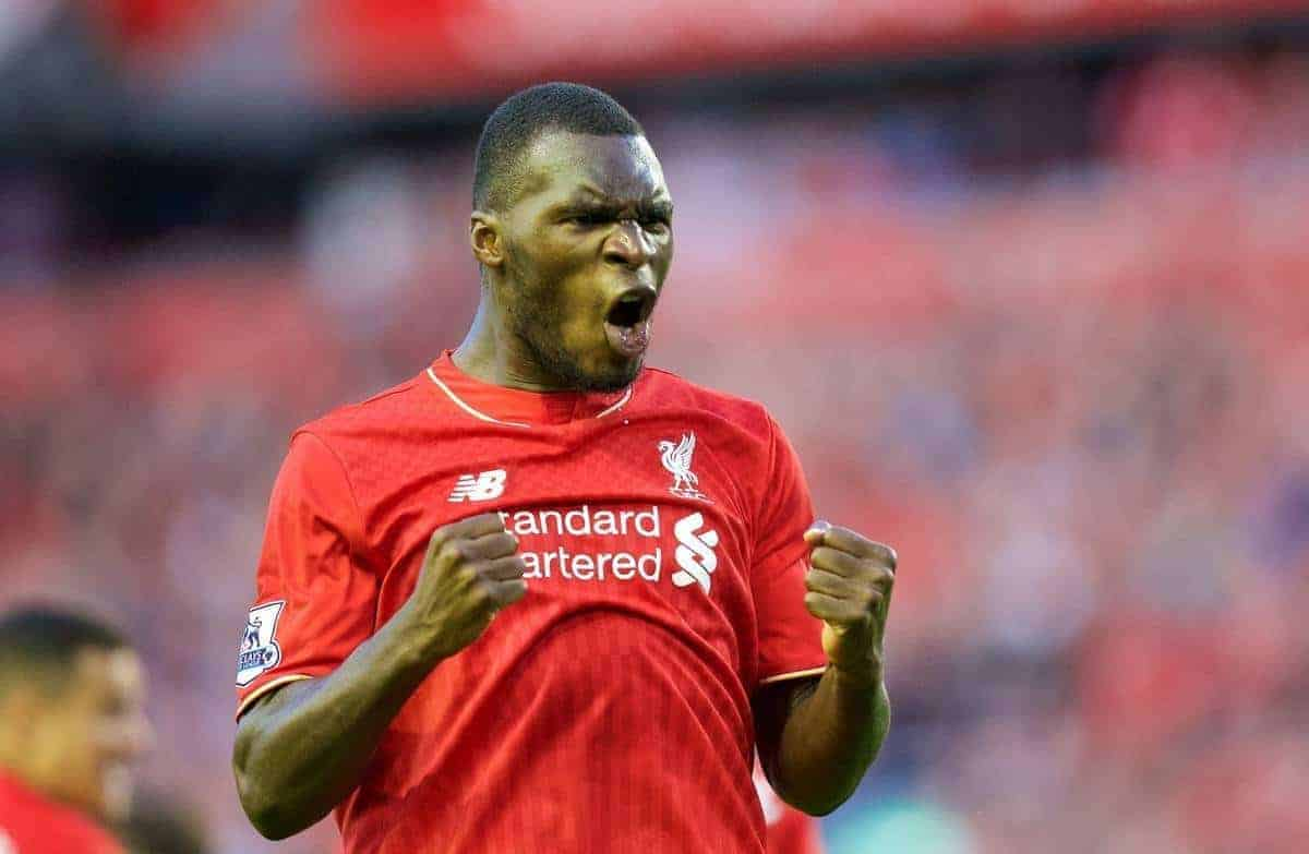 LIVERPOOL, ENGLAND - Monday, August 17, 2015: Liverpool's Christian Benteke celebrates scoring the first goal against AFC Bournemouth during the Premier League match at Anfield. (Pic by David Rawcliffe/Propaganda)