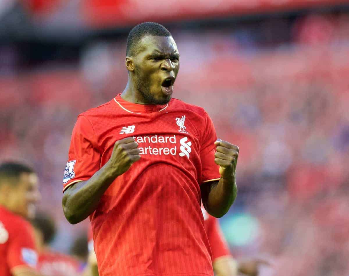 Liverpool's Christian Benteke celebrates scoring the first goal against AFC Bournemouth during the Premier League match at Anfield. (Pic by David Rawcliffe/Propaganda)