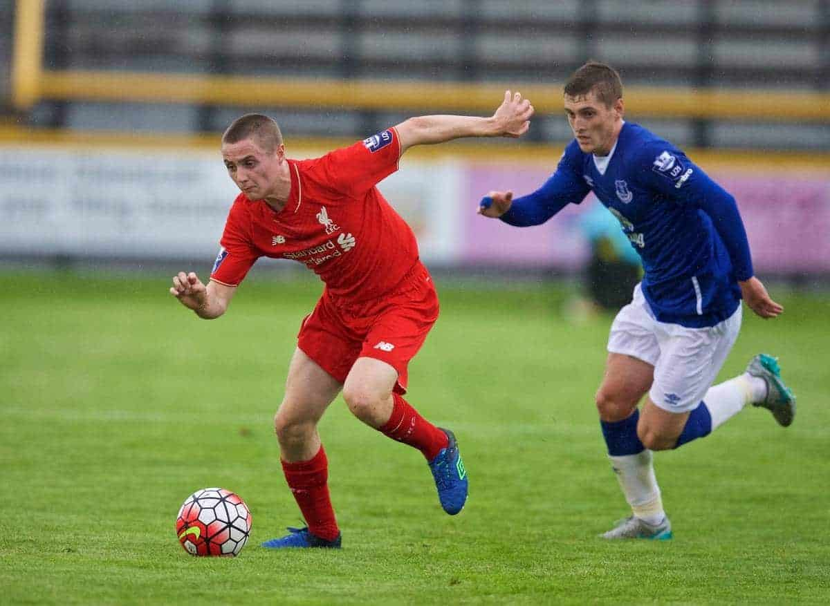 SOUTHPORT, ENGLAND - Wednesday, August 19, 2015: Liverpool's Jordan Rossiter in action against Everton during the Under 21 FA Premier League match at Haig Avenue. (Pic by David Rawcliffe/Propaganda)
