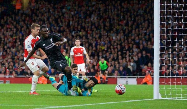 LONDON, ENGLAND - Monday, August 24, 2015: Liverpool's Christian Benteke looks dejected after missing a chance against Arsenal during the Premier League match at the Emirates Stadium. (Pic by David Rawcliffe/Propaganda)