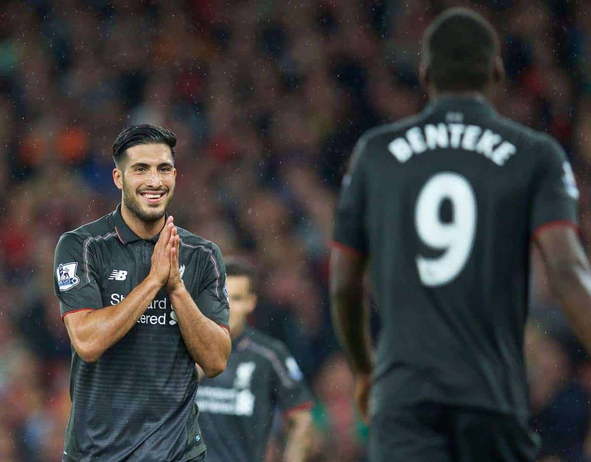 LONDON, ENGLAND - Monday, August 24, 2015: Liverpool's Emre Can reacts to a miss from team-mate Christian Benteke against Arsenal during the Premier League match at the Emirates Stadium. (Pic by David Rawcliffe/Propaganda)