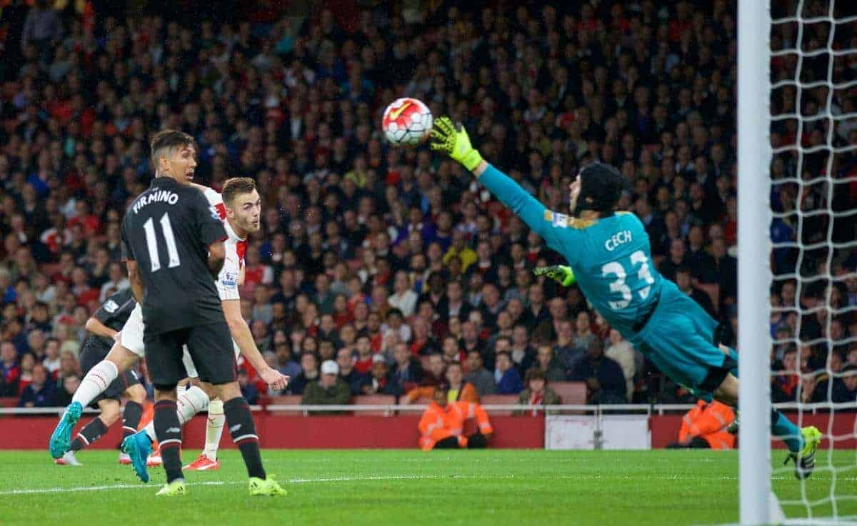 Liverpool's Philippe Coutinho Correia [hidden] hits the post as Arsenal's goalkeeper Petr Cech looks on helplessly during the Premier League match at the Emirates Stadium. (Pic by David Rawcliffe/Propaganda)