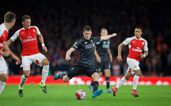LONDON, ENGLAND - Monday, August 24, 2015: Liverpool's James Milner in action against Arsenal during the Premier League match at the Emirates Stadium. (Pic by David Rawcliffe/Propaganda)