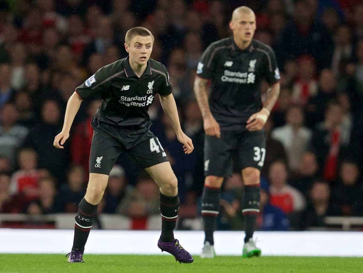LONDON, ENGLAND - Monday, August 24, 2015: Liverpool's Jordan Rossiter in action against Arsenal during the Premier League match at the Emirates Stadium. (Pic by David Rawcliffe/Propaganda)