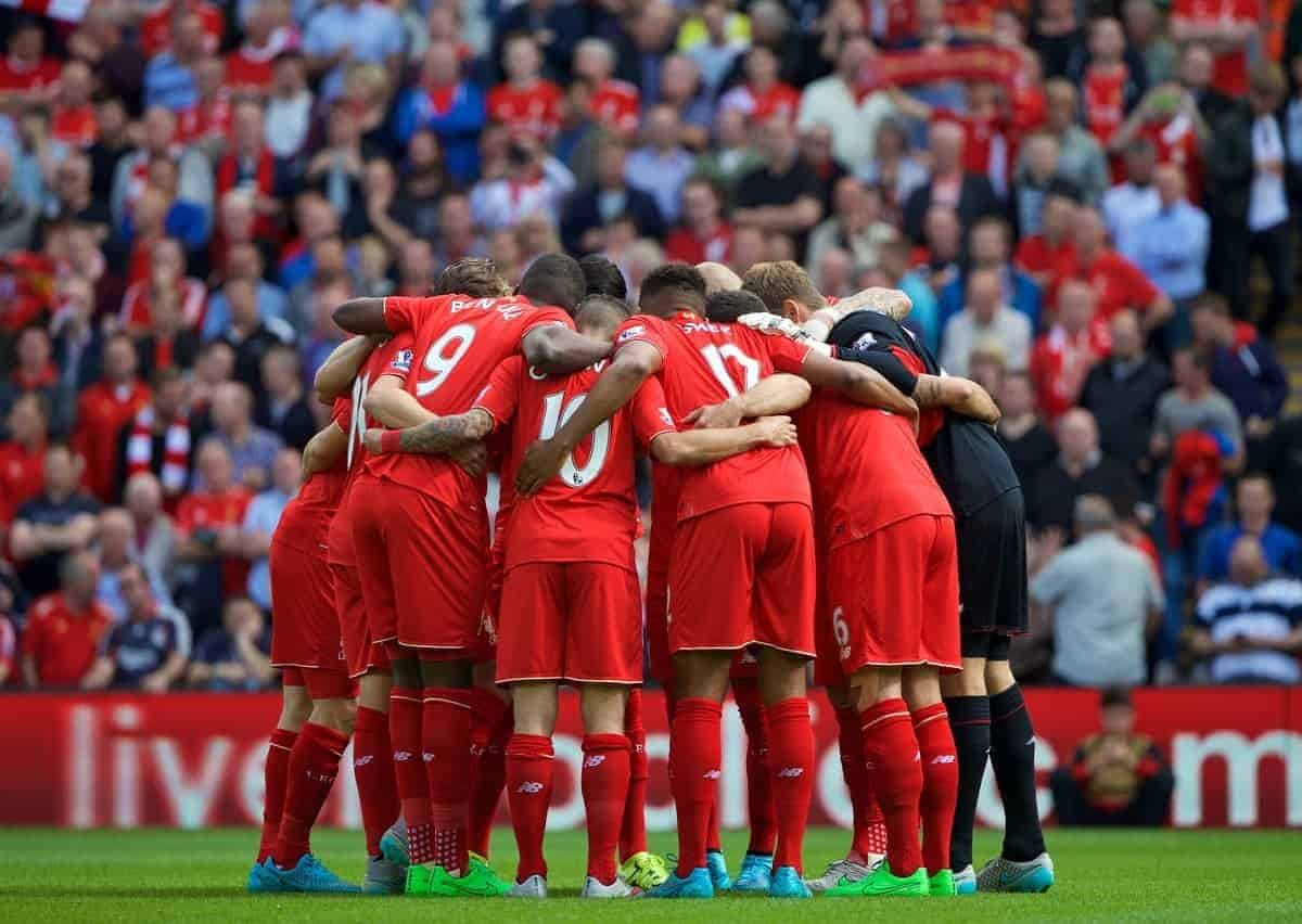 LIVERPOOL, ENGLAND - Saturday, August 29, 2015: Liverpool players form a pre-match huddle before the Premier League match against West Ham United at Anfield. (Pic by David Rawcliffe/Propaganda)