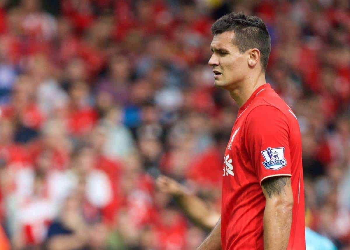 LIVERPOOL, ENGLAND - Saturday, August 29, 2015: Liverpool's Dejan Lovren looks dejected after his mistake led to West Ham United's second goal during the Premier League match at Anfield. (Pic by David Rawcliffe/Propaganda)
