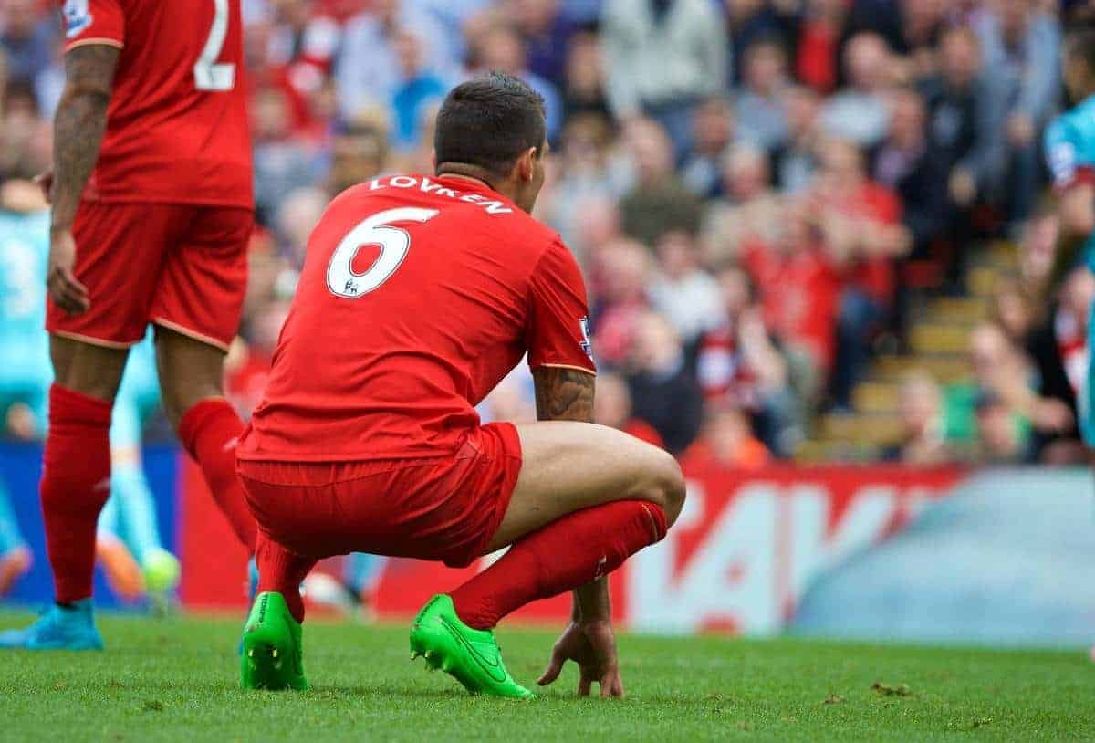 Liverpool's Dejan Lovren looks dejected after his mistake led to West Ham United's second goal during the Premier League match at Anfield. (Pic by David Rawcliffe/Propaganda)