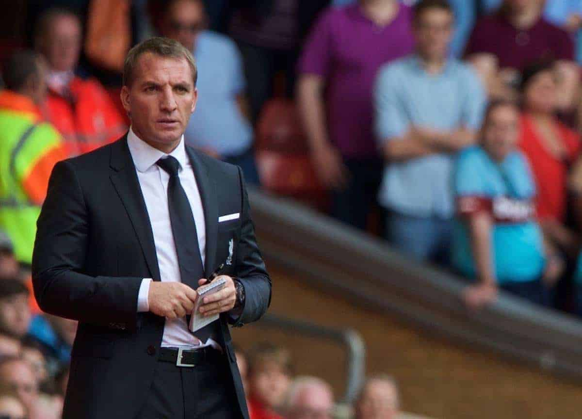 LIVERPOOL, ENGLAND - Saturday, August 29, 2015: Liverpool's manager Brendan Rodgers and West Ham United's manager Slaven Bilic during the Premier League match at Anfield. (Pic by David Rawcliffe/Propaganda)