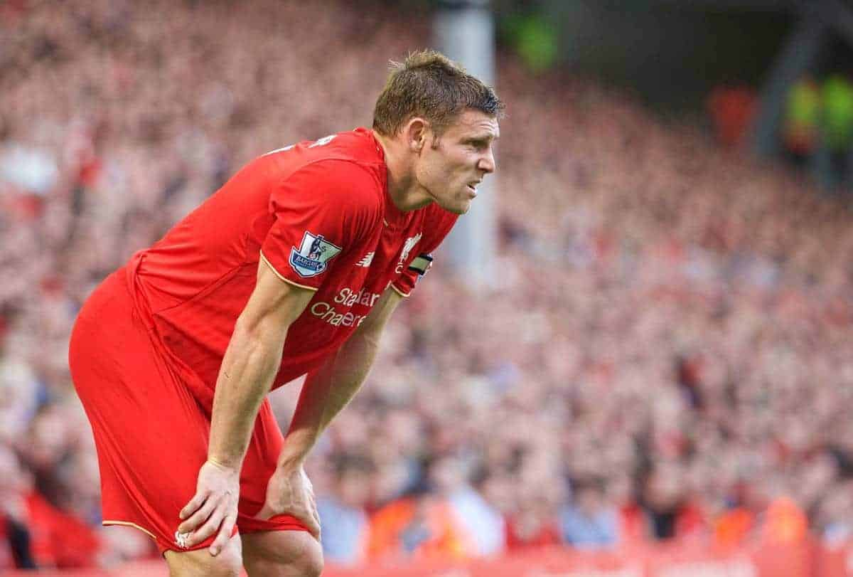 LIVERPOOL, ENGLAND - Saturday, August 29, 2015: Liverpool's James Milner looks dejected during the 3-0 Premier League defeat to West Ham United at Anfield. (Pic by David Rawcliffe/Propaganda)