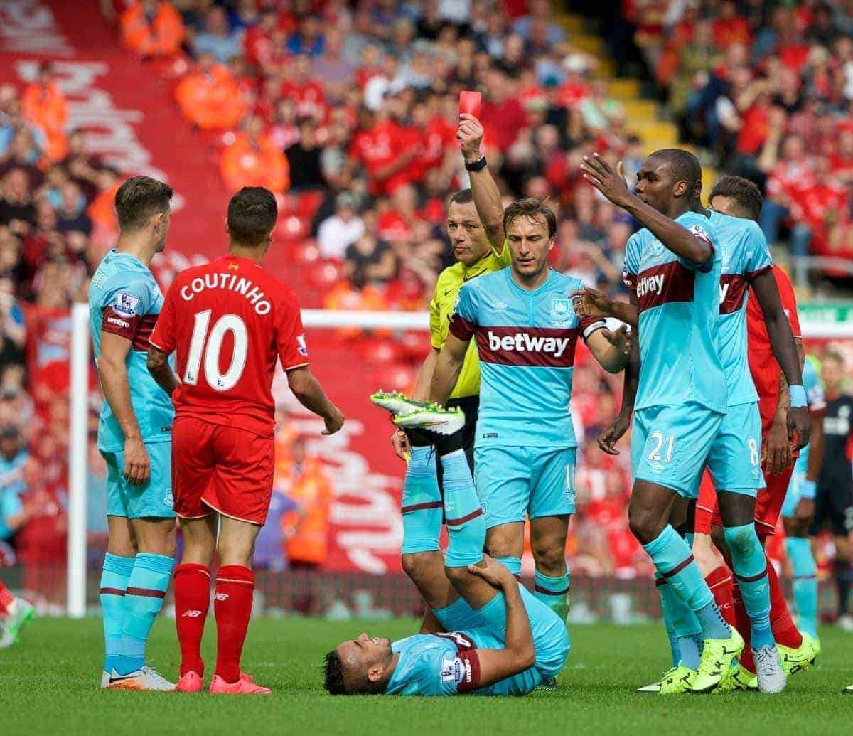 LIVERPOOL, ENGLAND - Saturday, August 29, 2015: Liverpool's Philippe Coutinho Correia is shown a red card for a second yellow by referee Kevin Friend and is sent off against West Ham United during the Premier League match at Anfield. (Pic by David Rawcliffe/Propaganda)