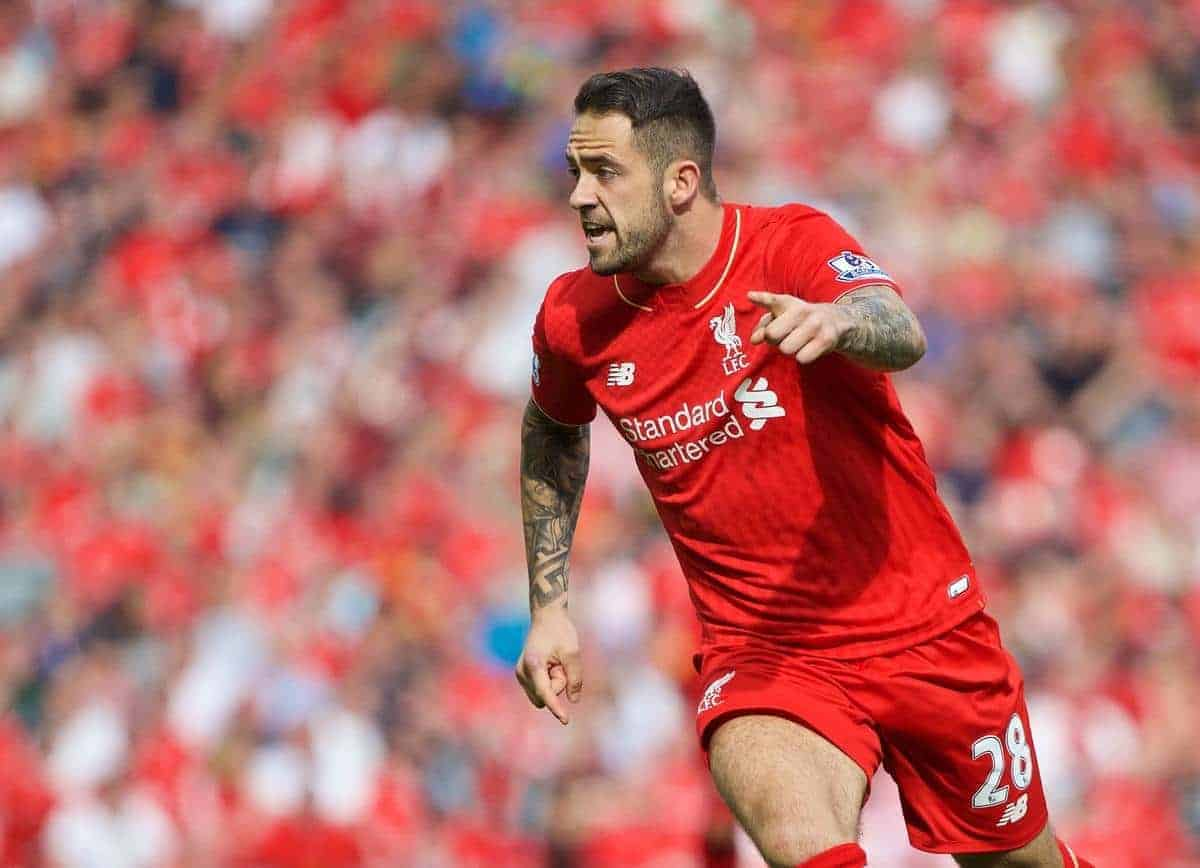 LIVERPOOL, ENGLAND - Saturday, August 29, 2015: Liverpool's Danny Ings in action against West Ham United during the Premier League match at Anfield. (Pic by David Rawcliffe/Propaganda)