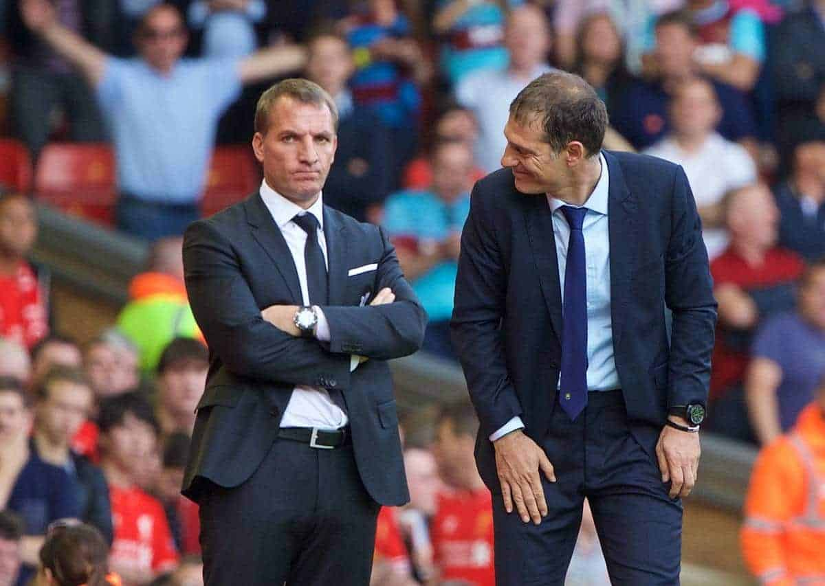 LIVERPOOL, ENGLAND - Saturday, August 29, 2015: West Ham United's manager Slaven Bilic and Liverpool's manager Brendan Rodgers during the Premier League match at Anfield. (Pic by David Rawcliffe/Propaganda)