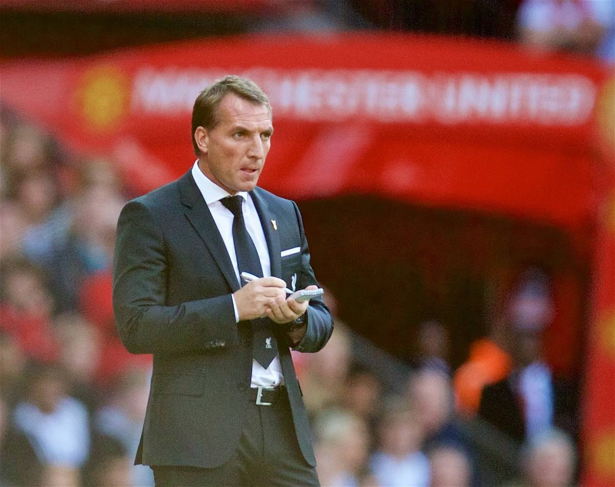 MANCHESTER, ENGLAND - Saturday, September 12, 2015: Liverpool's manager Brendan Rodgers during the Premier League match against Manchester United at Old Trafford. (Pic by David Rawcliffe/Propaganda)