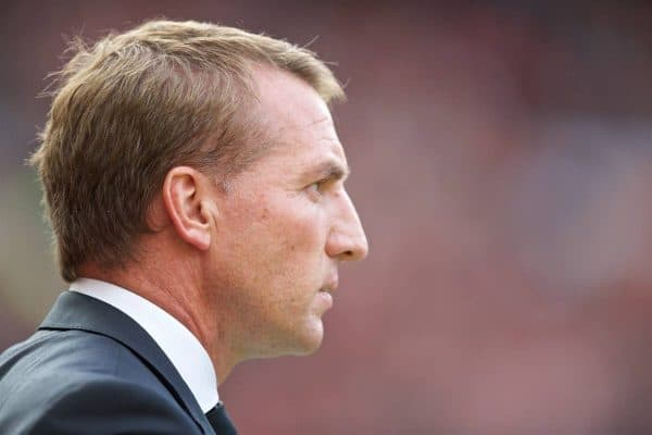 MANCHESTER, ENGLAND - Saturday, September 12, 2015: Liverpool's manager Brendan Rodgers before the Premier League match against Manchester United at Old Trafford. (Pic by David Rawcliffe/Propaganda)