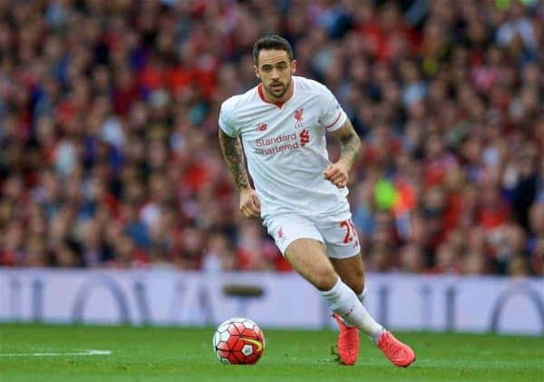 MANCHESTER, ENGLAND - Saturday, September 12, 2015: Liverpool's Danny Ings in action against Manchester United during the Premier League match at Old Trafford. (Pic by David Rawcliffe/Propaganda)
