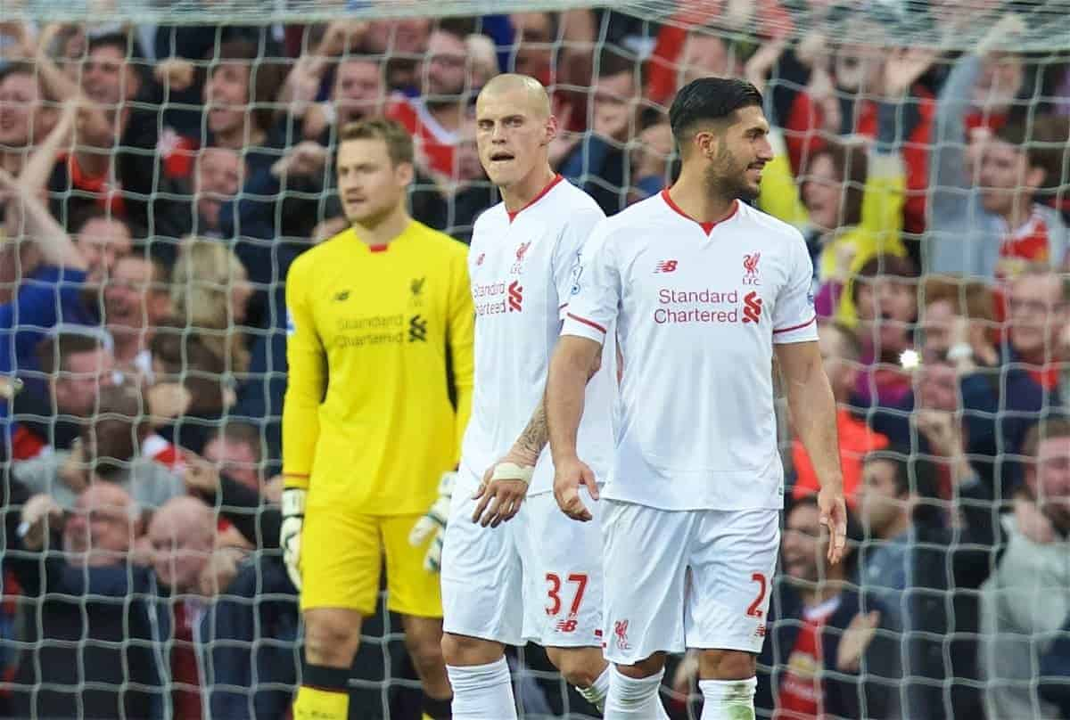 MANCHESTER, ENGLAND - Saturday, September 12, 2015: Liverpool's Martin Skrtel and Emre Can look dejected as Manchester United score the opening goal during the Premier League match at Old Trafford. (Pic by David Rawcliffe/Propaganda)