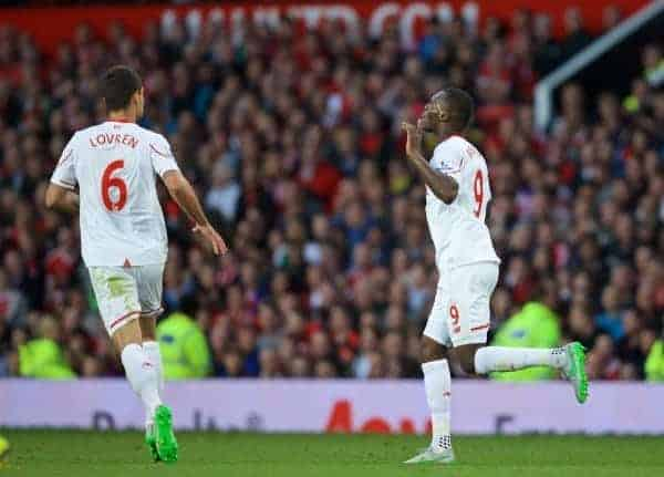 MANCHESTER, ENGLAND - Saturday, September 12, 2015: Liverpool's Christian Benteke celebrates scoring the first goal against Manchester United during the Premier League match at Old Trafford. (Pic by David Rawcliffe/Propaganda)