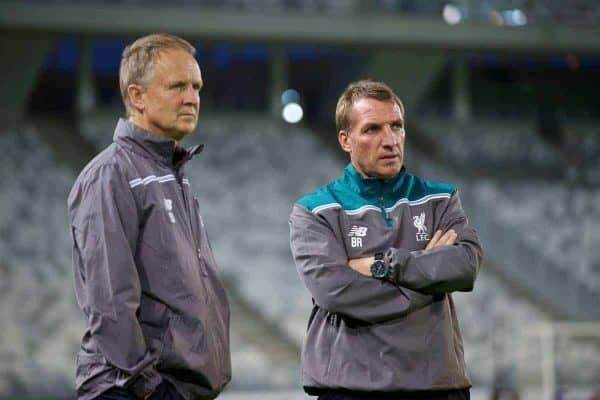 BORDEAUX, FRANCE - Wednesday, September 16, 2015: Liverpool's assistant manager Sean O'Driscoll and manager Brendan Rodgers during a training session ahead of the UEFA Europa League Group Stage Group B match against FC Girondins de Bordeaux at the Nouveau Stade de Bordeaux. (Pic by David Rawcliffe/Propaganda)