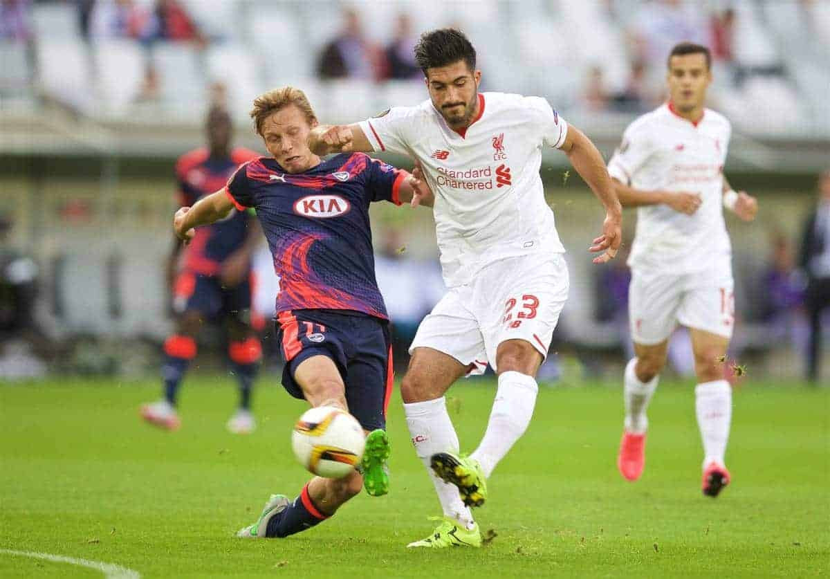 BORDEAUX, FRANCE - Thursday, September 17, 2015: Liverpool's Emre Can in action against FC Girondins de Bordeaux during the UEFA Europa League Group Stage Group B match at the Nouveau Stade de Bordeaux. (Pic by David Rawcliffe/Propaganda)
