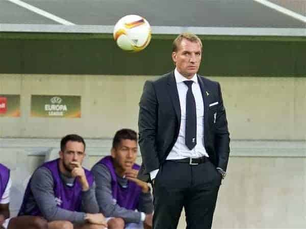 BORDEAUX, FRANCE - Thursday, September 17, 2015: Liverpool's manager Brendan Rodgers during the UEFA Europa League Group Stage Group B match against FC Girondins de Bordeaux at the Nouveau Stade de Bordeaux. (Pic by David Rawcliffe/Propaganda)
