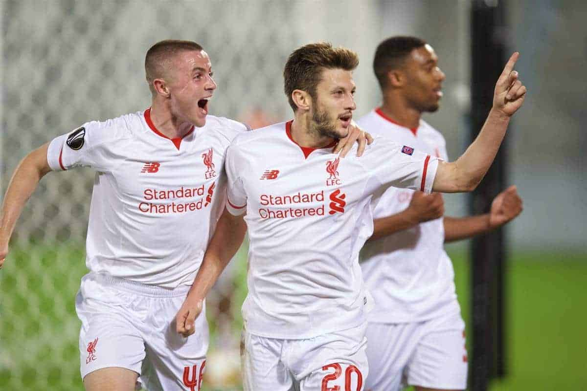 BORDEAUX, FRANCE - Thursday, September 17, 2015: Liverpool's Adam Lallana celebrates scoring the first goal against FC Girondins de Bordeaux during the UEFA Europa League Group Stage Group B match at the Nouveau Stade de Bordeaux. (Pic by David Rawcliffe/Propaganda)