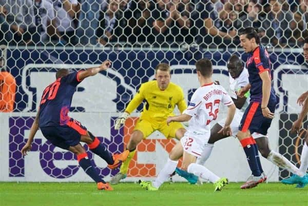 BORDEAUX, FRANCE - Thursday, September 17, 2015: FC Girondins de Bordeaux's Jussie scores the first goal against Liverpool during the UEFA Europa League Group Stage Group B match at the Nouveau Stade de Bordeaux. (Pic by David Rawcliffe/Propaganda)