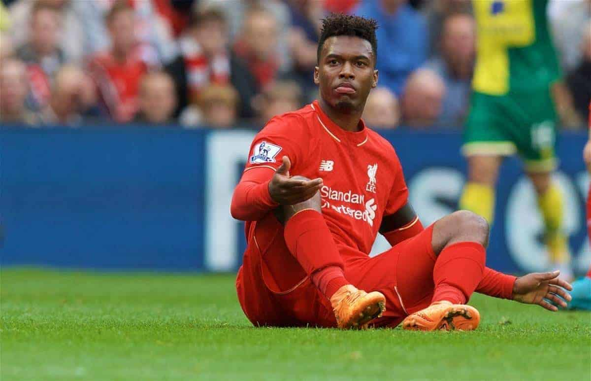 LIVERPOOL, ENGLAND - Sunday, September 20, 2015: Liverpool's Daniel Sturridge being fouled during the Premier League match against Norwich City at Anfield. (Pic by David Rawcliffe/Propaganda)