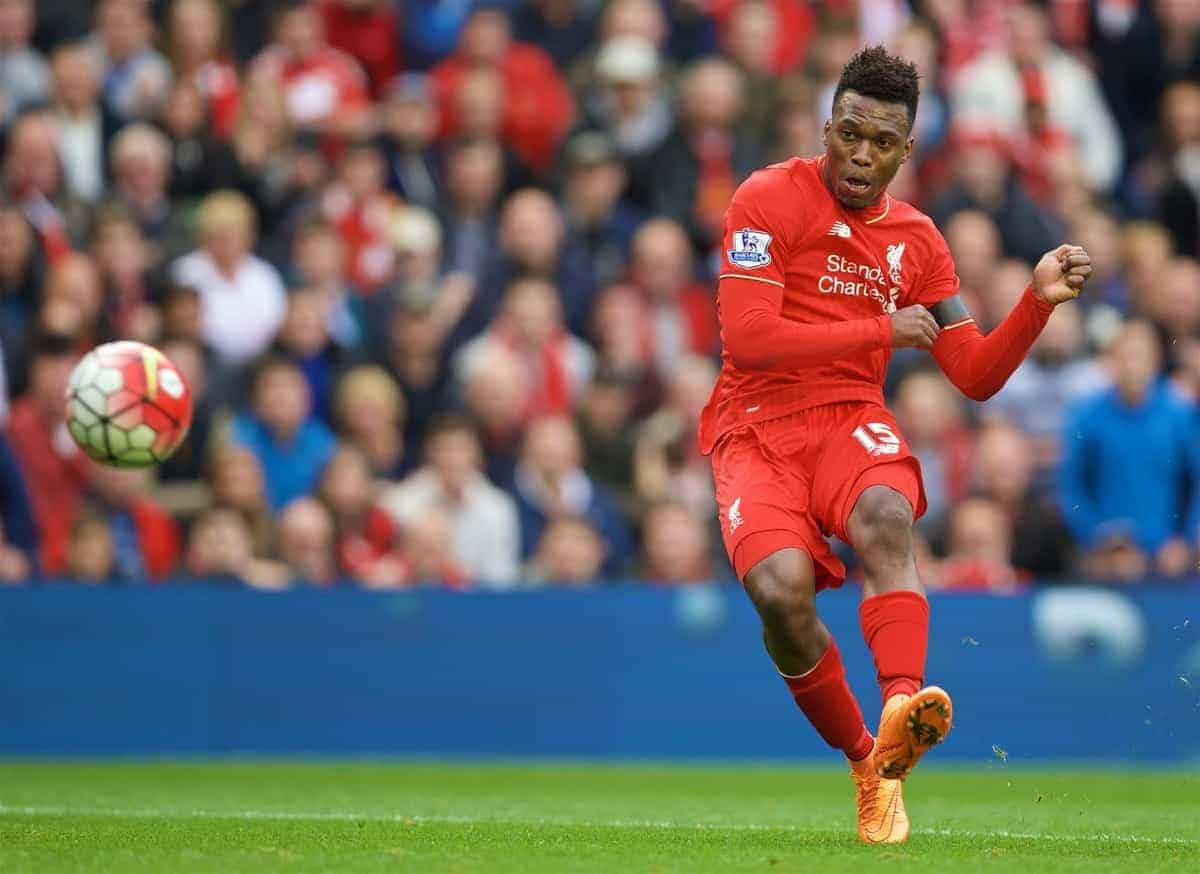 LIVERPOOL, ENGLAND - Sunday, September 20, 2015: Liverpool's Daniel Sturridge in action during the Premier League match against Norwich City at Anfield. (Pic by David Rawcliffe/Propaganda)