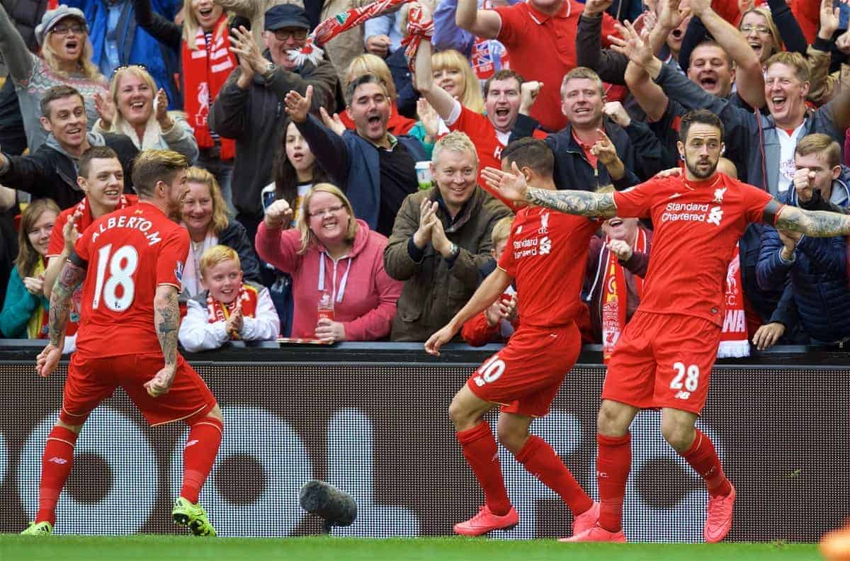 LIVERPOOL, ENGLAND - Sunday, September 20, 2015: Liverpool's Danny Ings celebrates scoring the first goal with teammates Alberto Moreno and Philippe Coutinho Correia during the Premier League match against Norwich City at Anfield. (Pic by David Rawcliffe/Propaganda)